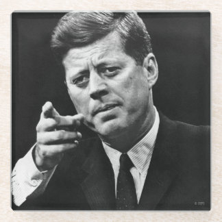 Photograph of John F. Kennedy 3 Glass Coaster