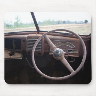 Photograph of old car interior with rusty gauges mouse pad
