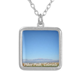 Photograph of Pikes Peak Colorado Square Pendant Necklace
