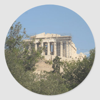 Photograph of the Ancient Greek Parthenon Ruins Classic Round Sticker