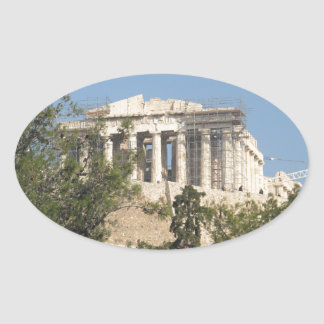 Photograph of the Ancient Greek Parthenon Ruins Oval Sticker