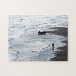 Photograph: Sea coming to shore at dusk - Puzzle