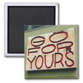 Photograph: Wooden Sign 2 Inch Square Magnet