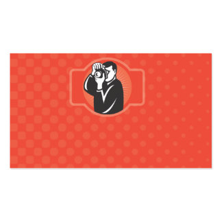 photographer aiming slr camera front Double-Sided standard business cards (Pack of 100)