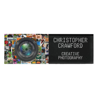 Photographer And Photography Business Camera Lens Name Tag