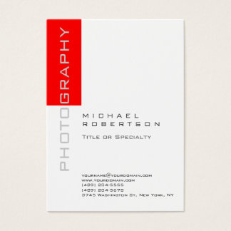 Photographer Artist White Red Clean Business Card