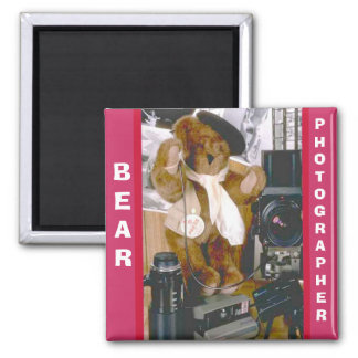 Photographer Bear 2 Inch Square Magnet