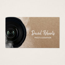 Photographer Black Camera Rustic Photography Business Card