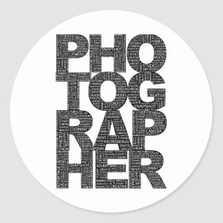 Photographer - Black Text Classic Round Sticker
