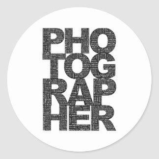 Photographer - Black Text Round Stickers