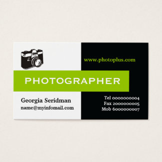 Photographer black, white, green eye-catching business card