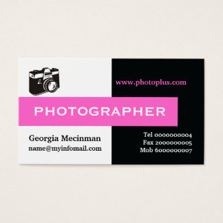 Photographer black, white, hot pink eye-catching business card