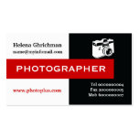 Photographer black, white, red eye-catching business cards