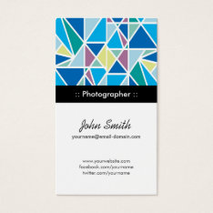 Photographer - Blue Abstract Geometry Business Card at Zazzle