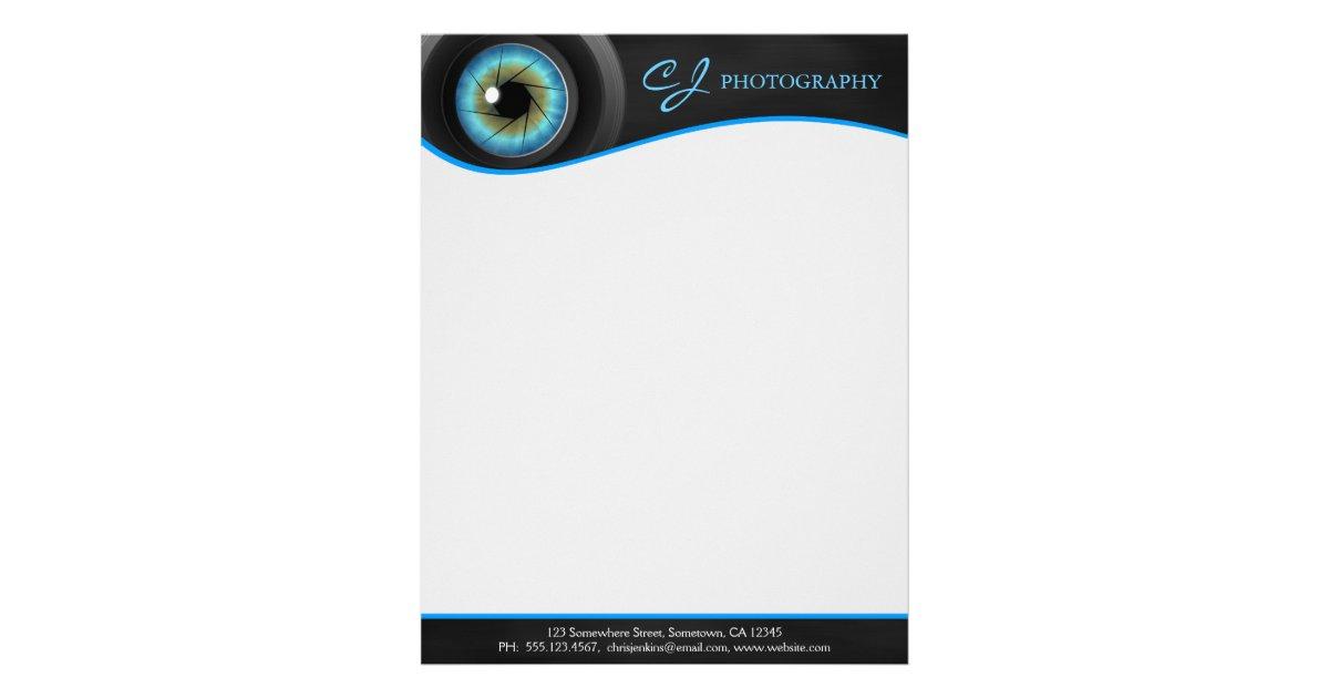 Photographer blue eye camera lens letterhead zazzle maxwellsz