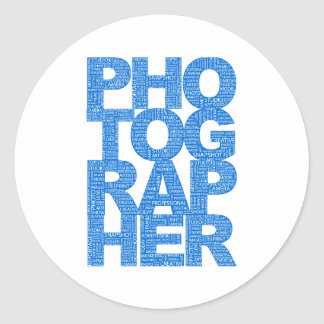 Photographer - Blue Text Classic Round Sticker