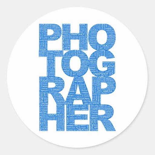Photographer - Blue Text Classic Round Sticker