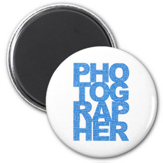 Photographer - Blue Text Magnet