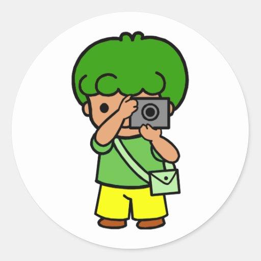 photographer boy round sticker