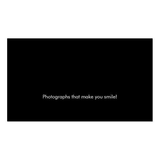 Photographer Business Card Modern Black Spotlight (back side)