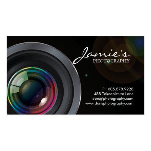 Photographer Business Card Modern Black Spotlight (front side)
