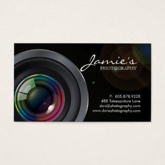 Photographer Business Card Modern Black Spotlight