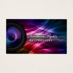 Photographer Camera Lens & Aurora Photography Business Card at Zazzle