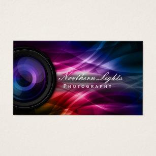 Camera business cards templates zazzle photographer camera lens aurora photography business card reheart Choice Image