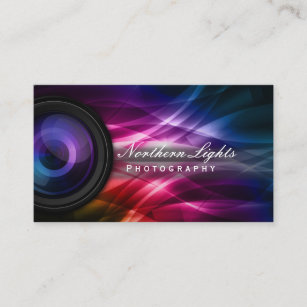Photography business cards zazzle photographer camera lens aurora photography business card reheart Images