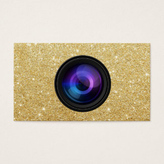 Photographer Camera Lens Gold Glitter Photography Business Card