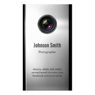 Photographer - Camera Lens in Silver Metallic Look Business Card