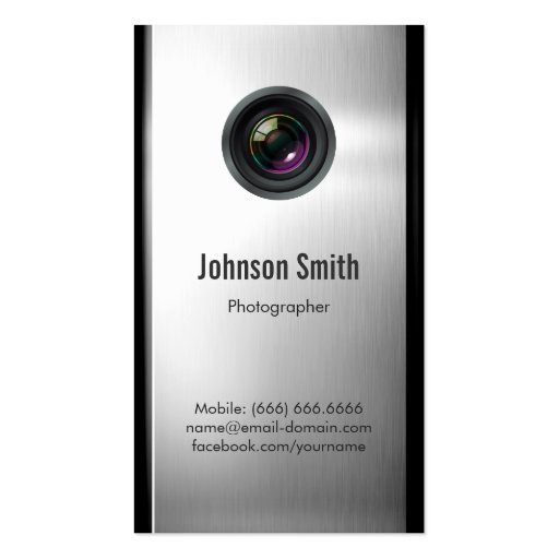 Photographer - Camera Lens in Silver Metallic Look Business Card (front side)