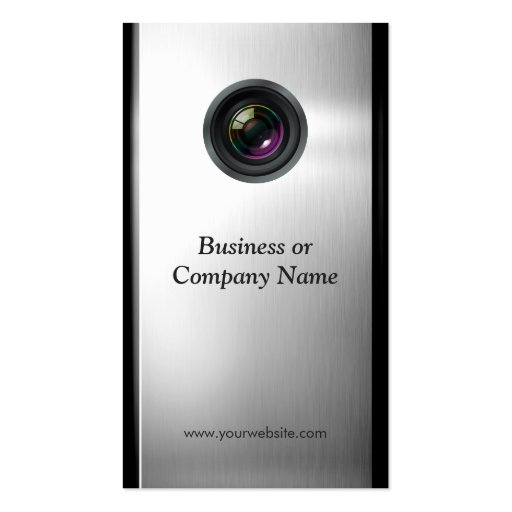 Photographer - Camera Lens in Silver Metallic Look Business Card (back side)