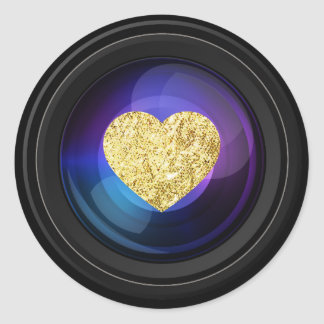 Photographer Camera Lens with Gold Heart Classic Round Sticker