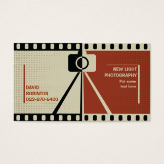 Photographer camera photography black, beige business card