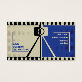 Photographer camera photography black, blue, beige business card
