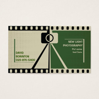 Photographer camera photography black, green beige business card