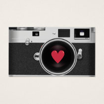 Photographer Camera & Red Heart Photography Business Card