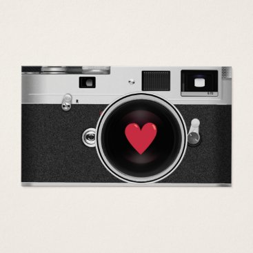 Valentines Themed Photographer Camera & Red Heart Photography Business Card