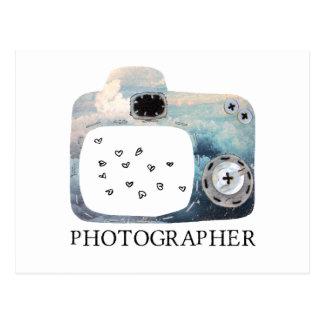 Photographer Cloudy Camera Hearts Postcard