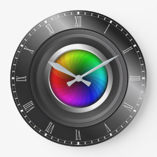 Photographer Color Wheel Camera Lens Large Round Large Clock
