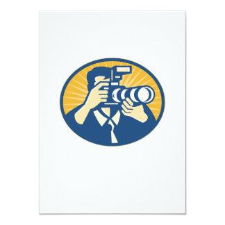 "Photographer DSLR Camera Shooting Retro 4.5"" X 6.25"" Invitation Card"