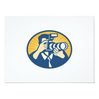 "Photographer DSLR Camera Shooting Retro 6.5"" X 8.75"" Invitation Card"
