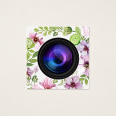 Photographer Floral Camera Elegant Photography Square Business Card