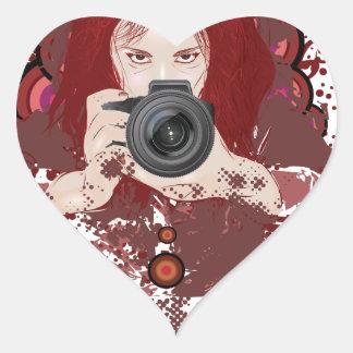 Photographer girl heart sticker