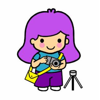Photographer Girl Standing Photo Sculpture