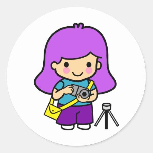 Photographer Girl Round Sticker