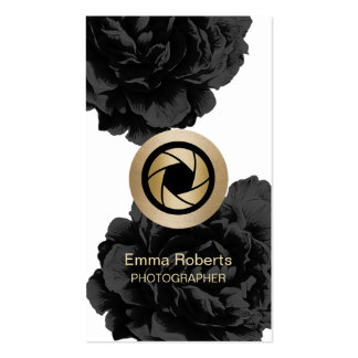 Photographer Gold Camera Black Floral Photography Business Card