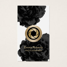 Photographer Gold Camera Black Floral Photography Business Card at Zazzle