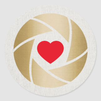 Photographer Gold Love Camera Lens Photography Classic Round Sticker